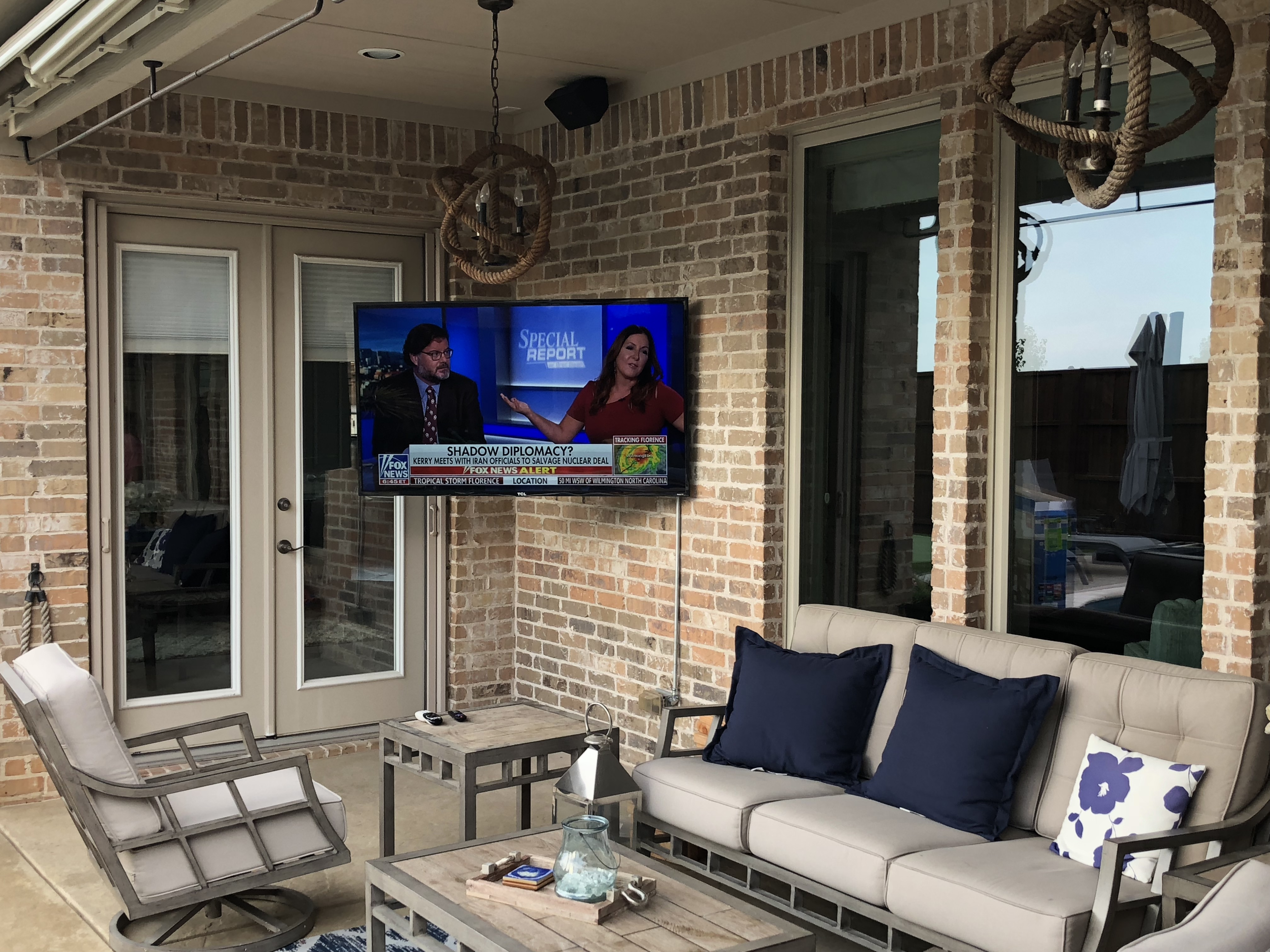 Outdoor patio tv mount speakers next gen audio video for Installing in wall speakers on exterior wall